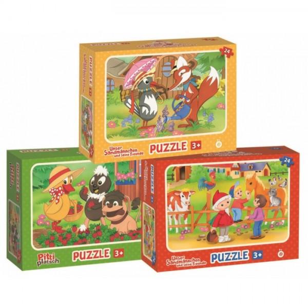 Unser Sandmännchen Kinderpuzzle - 3 Puzzle im Set mit jeweils 24 Teile