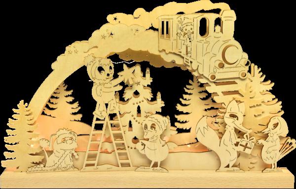 Unser Sandmännchen Schwibbogen - Pittiplatsch und Freunde schmücken den Weihnachtsbaum