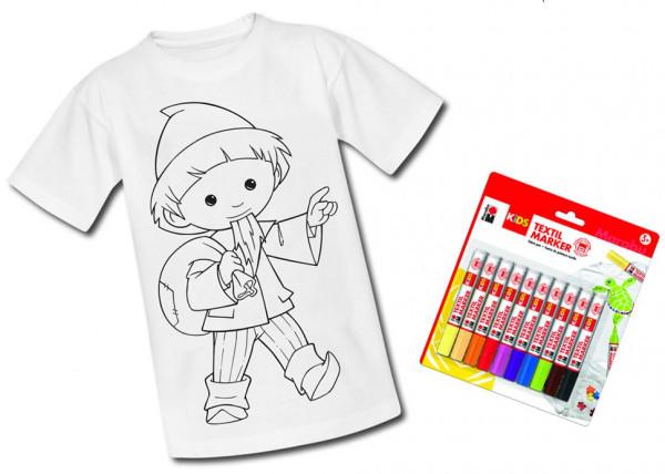 Unser Sandmännchen Kinder T-Shirt mit Textilstiften zum Ausmalen