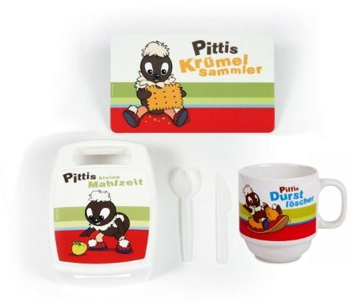 Pittiplatsch Frühstückspaket mit Brettchen, Tasse und Brotdose