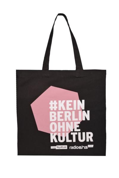 #KeinBerlinohneKultur Stoffbeutel Schwarz-Rosa