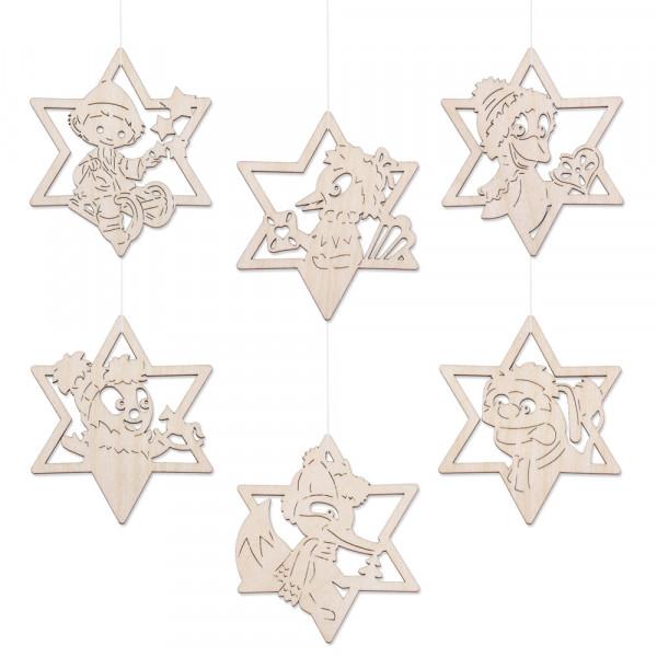 Weihnachtsbaumschmuck Stern 6er Set vom Sandmännchen & Freunden