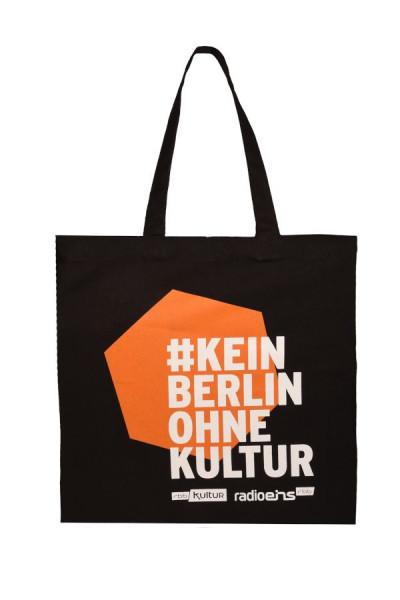 #KeinBerlinohneKultur Stoffbeutel Schwarz-Orange