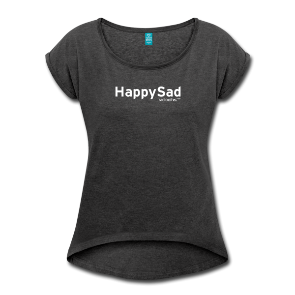 radioeins HappySad Frauen T-Shirt mit gerollten Ärmeln von Spreadshirt