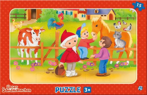 Unser Sandmännchen Puzzle - Auf dem Bauernhof (15 Teile)
